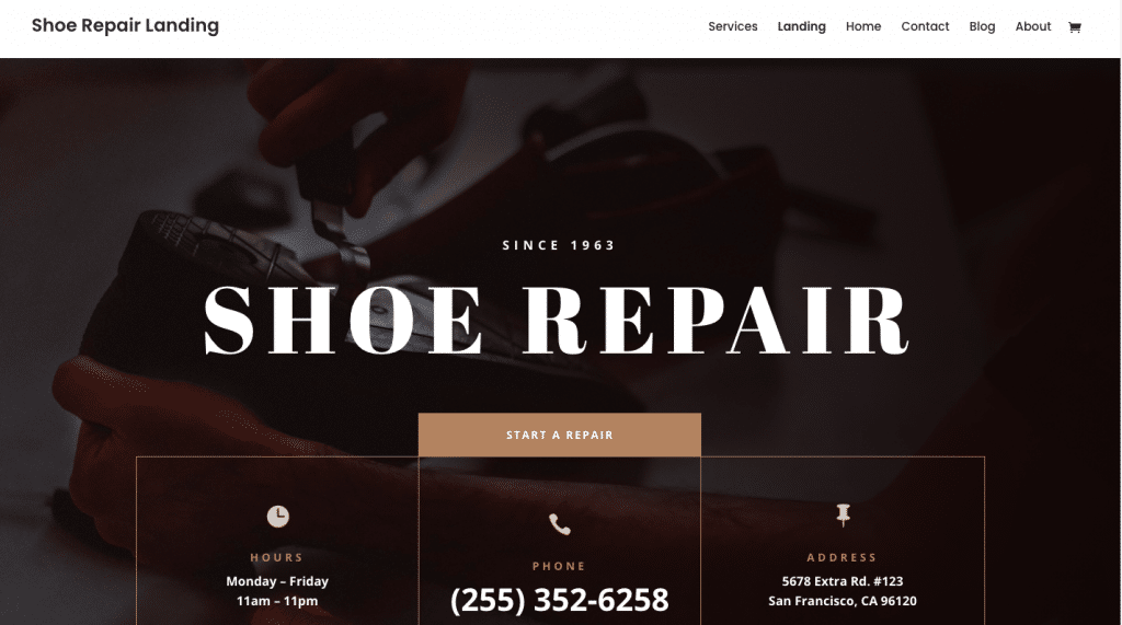 Shoe Repair website design