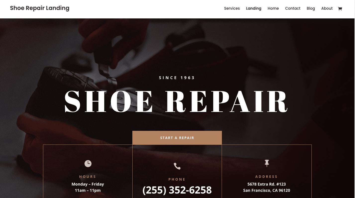 Shoe Repair website design